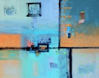 Abstract Modern Mixed Media Acrylic Painting Collage in Aqua
