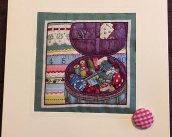 Hand Made Quilted Card Birthday Thank You Thinking Of You Sewing Seamstress