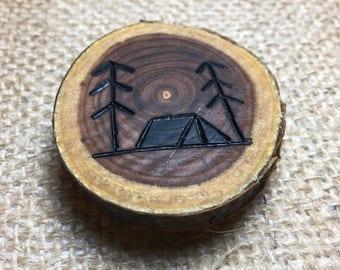 Wood Burned Camping Magnet