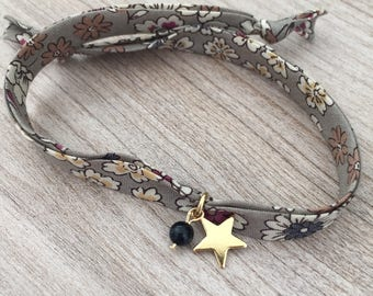 Liberty of London fabric bracelet with star charm and bluesand stone