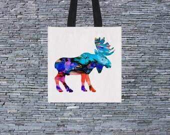 Printed Bag - Art Tote Bag - Art Market Bag - Fashion Tote - Moose Bag