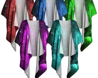 Infrared Nebula, Draped Kimono, Kimono Wrap, Nebula, Shawl Wrap, Draped Blouse, Bohemian, Colorful Wrap, Shrug, Shawl, Coverup, Silky Kimono