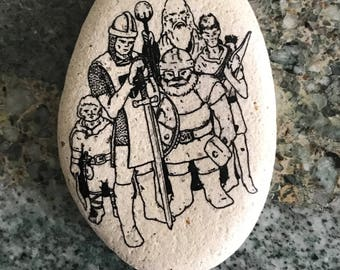 "Natural, Handmade Printed ""Dungeons and Dragons"" Stone. Unique Stone Art Gift."