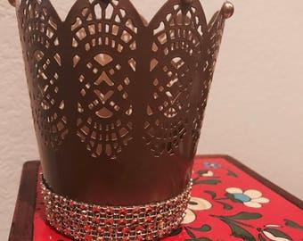 Hand embelished metal candle holder