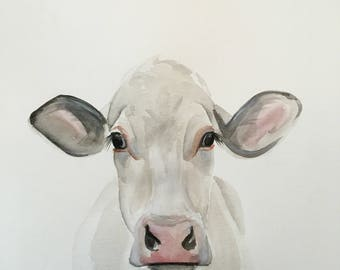 ORIGINAL White Cow Watercolor