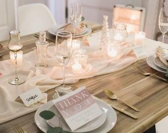 silk table runner   vintage table runner   hand dyed runner    blush runner   chiffon table runner   wedding runner    blush wedding decor