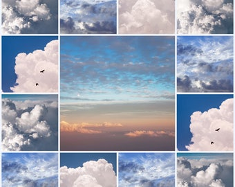 Dreamy Clouds Collage. Cloudscape. Fine Art Photography. Wall Art, Home Decor. Digitall Download