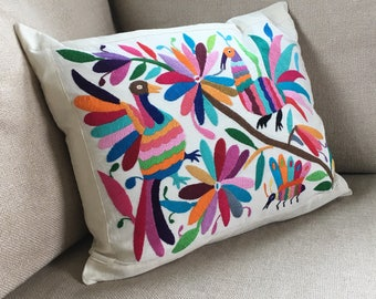 Large, Hand Embroidered, Colorful Otomi Mexican Pillow