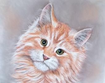 cat drawing, custom portrait, pet birthday gift, cat portrait, pet gift, portrait from photo, cat memorial, cat painting, pet drawing