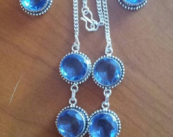 IOLITE necklace and earrings and silver