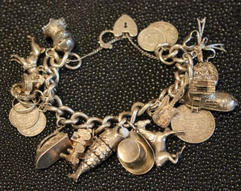Heavy Solid Sterling Silver Charm Bracelet with Good Selection of Charms 116 g