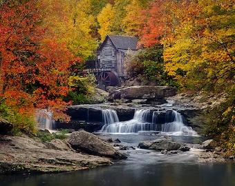 Glade Creek Grist Mill 12x18 Metal Print