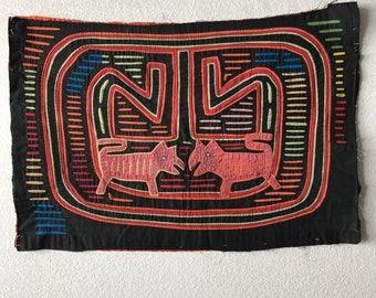 Authentic Vintage Colorful Kuna Indian Mola Folk Art Cat Fabric