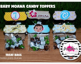 Baby moana candy toppers with bags, moana treat bags, moana favor bags SET OF 12