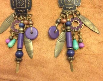 Vintage Handcrafted Native American Post earrings with Etched Metal and Beaded Talisman Charms