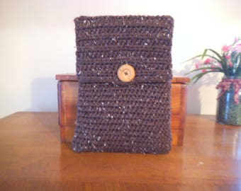 Handmade Crocheted Netbook Laptop Sleeve with Wooden Button Brown with White Flecks