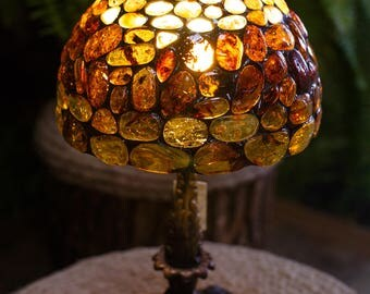 "Mosaic ""Amber lampshade"" Made by Hand (老 琥珀) Genuine Europe Amber Sand / Nuggets"