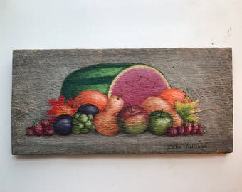 Folk Harvest Painting on Reclaimed Barn Wood 7 x 7 3/4 by Zata Palange