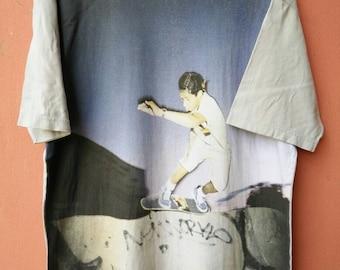 Vintage SUPREME Photo by Bil Thomas Full Print Skateboarding T Shirt Rare