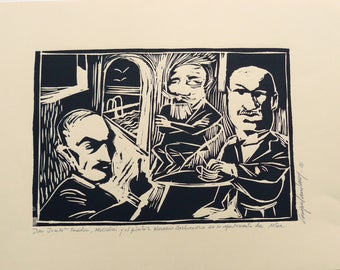 Three characters, original linocut, linoleografia, engraving, paper, printing techniques, stamping
