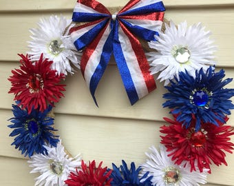 Front door wreath, patriotic , 4th of July, Memorial Day, veterans, America, red white & blue
