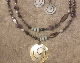 Asymmetrical Multi-colored Necklace and Earrings