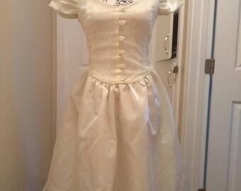 Vintage 1950s Sweetheart Glittery Satin Dress XS/S