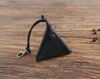 Coin purse, handmade cowhide retro purse, triangular coin purse, headset data cable