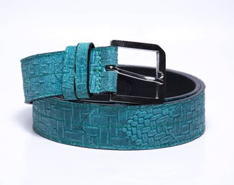 Leather belt, limited edition, turquoise, chrome buckle, modern