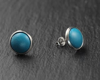 Stainless steel concrete earrings turquoise 10 mm