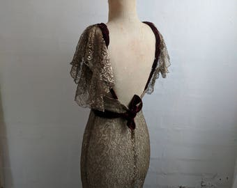 RESERVED FOR GINGER ****Art Deco 1930's gold lace dress alternative ethereal bohemian wedding dress