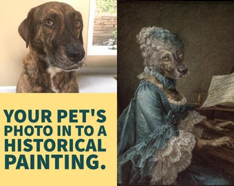 Your Pet as a Historical Portrait by Visual Artist Jordan Gaunce printed on Canvas  free shipping