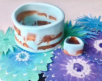 Resin Bangle and Ring Jewellery Set - Pale Blue and Bronze