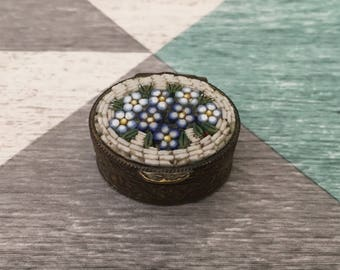 Vintage Micromosaic Flower Forget Me Knot Ring/Pill Box