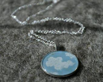 Blue Skies - Hand Painted Resin Pendant.