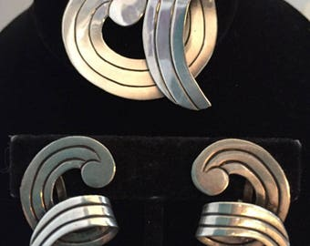 "Vintage Signed ""JA"" Modernist Mexican Sterling Silver Pin and Earrings, Mid Century"
