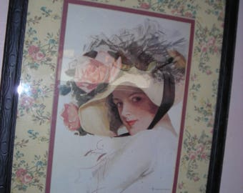 Lovely flowers and Gibson Girl under Glass and Framed