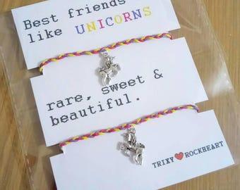 Unicorn Charm, Chord Braided Friendship Bracelets Pink Purple Yellow