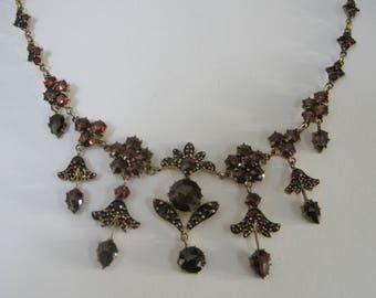 Antique Bohemian Garnet Necklace Dangling Drops