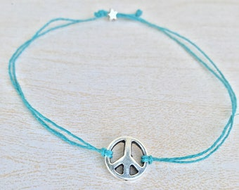 Peace sign hemp bracelet.