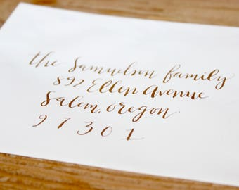 Gold Calligraphy Envelope Addressing - Outer