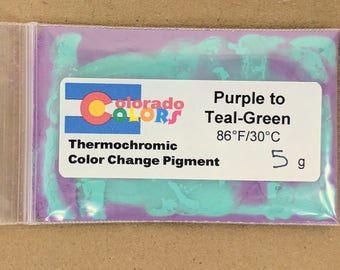 Thermochromic Color Change Powder Pigment 5 Grams Purple to Teal Green 88F