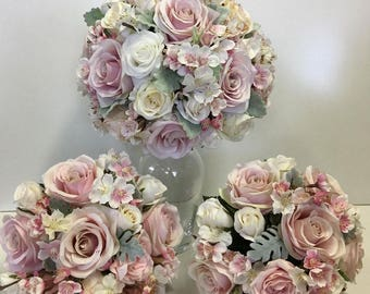 Silk Wedding Bouquet Set with Pink Blossom Ivory Cream Pink Roses with Dusty Miller Foilage