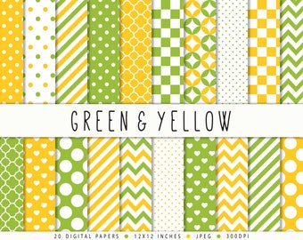 Green yellow digital paper commercial use polka dots chevron stripes green patterns yellow backgrounds instant download