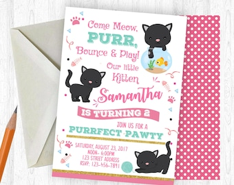 Kitten Birthday Invitation, Kitten Invitation, Kitten Invite, birthday invite, Birthday Party, Printable Invitation, Kitten, Kitty, Cat