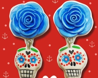 01 Pair of sugar skull earrings. In polymer clay. Rockabilly. Pin-Up.
