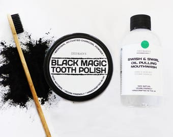 Peppermint Oil Pulling Mouthwash, Activated Charcoal Powder Tooth Polish and Bamboo Charcoal Bristle Toothbrush *Natural Oral Care Kit