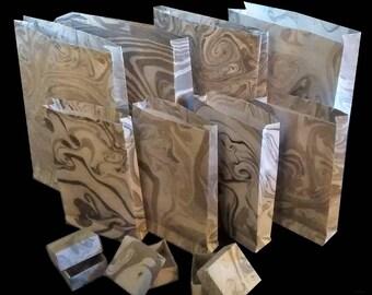 Hand Marbled Suminagashi Gift Bags, Black and White, Set of 8, plus 3 bonus Origami Boxes