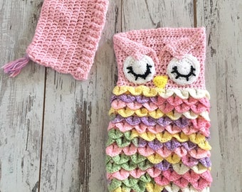 Crochet Owl Baby Cocoon, Sack,Baby Shower Gift