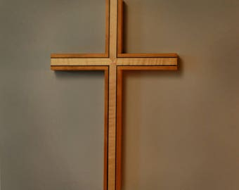 Wooden Wall Cross with Inlay